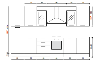 Mobili cucina dimensioni free misure piano with mobili - Misure standard cucine componibili ...