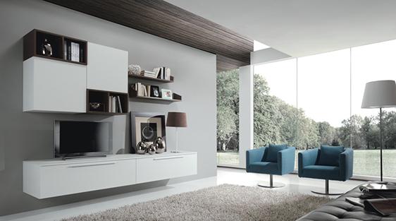 Parete attrezzata moderna stream 21 da 240 cm completa for Mobili italiani design